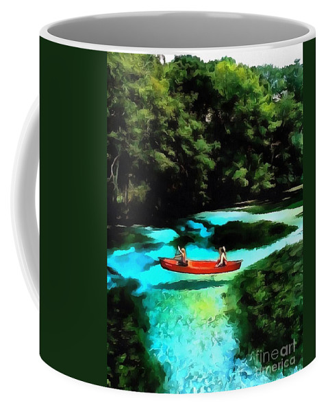 With A Paddle Coffee Mug featuring the painting With A Paddle by Catherine Lott