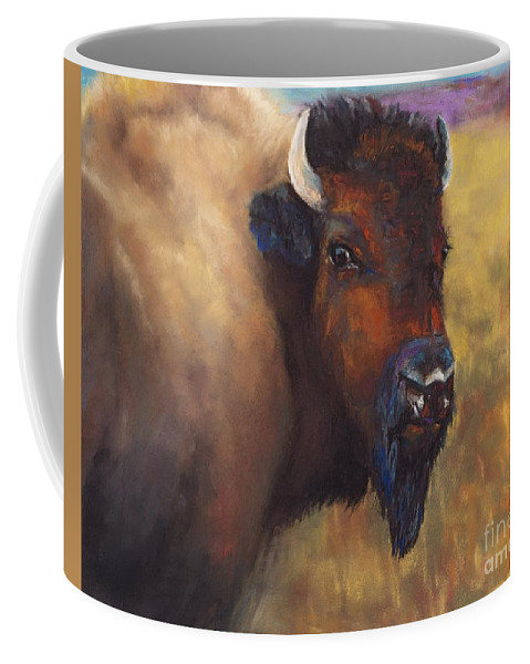 Bison Coffee Mug featuring the painting With Age Comes Beauty by Frances Marino