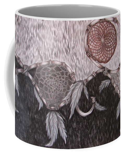 Wolf Coffee Mug featuring the drawing The Wolf Is Watching by Rebecca Wiltfong Frisbee