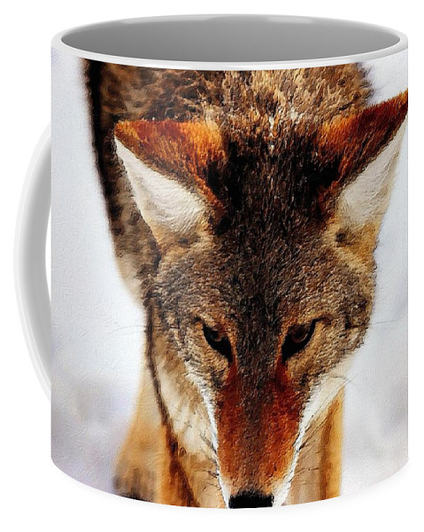 Wolf Coffee Mug featuring the painting Wolf In The Wild by Florian Rodarte
