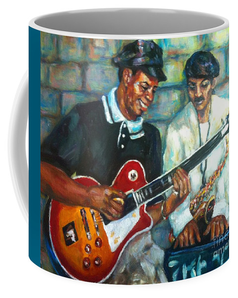 Guitar Coffee Mug featuring the painting Wolfman by Beverly Boulet