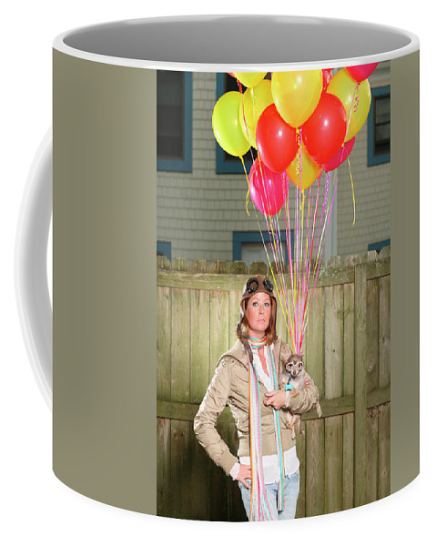 Aspirations Coffee Mug featuring the photograph Woman And Dog With Balloons Dressed by Logan Mock-Bunting