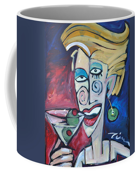 Martini Coffee Mug featuring the painting Woman At Martini Bar by Tim Nyberg