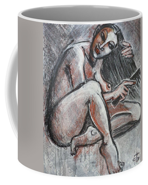 Original Coffee Mug featuring the painting Woman Combing Her Hair - Nudes by Carmen Tyrrell