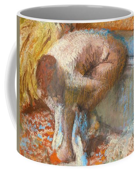 Edgar Degas Coffee Mug featuring the drawing Woman Drying Her Feet by Edgar Degas
