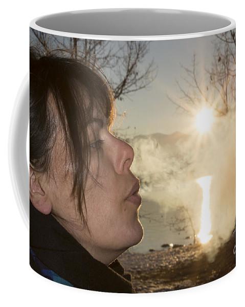 Woman Coffee Mug featuring the photograph Woman Exhalation by Mats Silvan