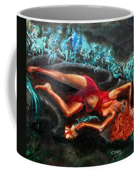 Females Coffee Mug featuring the painting Woman In A Red Dress Holding A Flower by Tom Conway