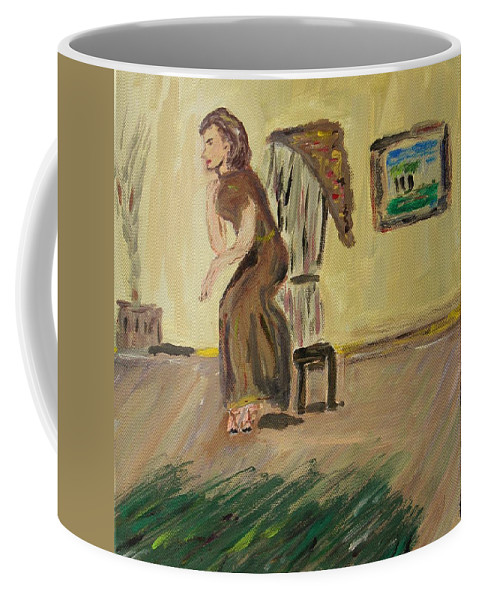 Woman In The Art Gallery Coffee Mug featuring the painting Woman In The Art Gallery by Mary Carol Williams