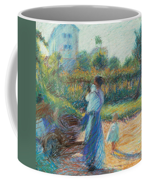 Boccioni Coffee Mug featuring the painting Woman In The Garden by Umberto Boccioni
