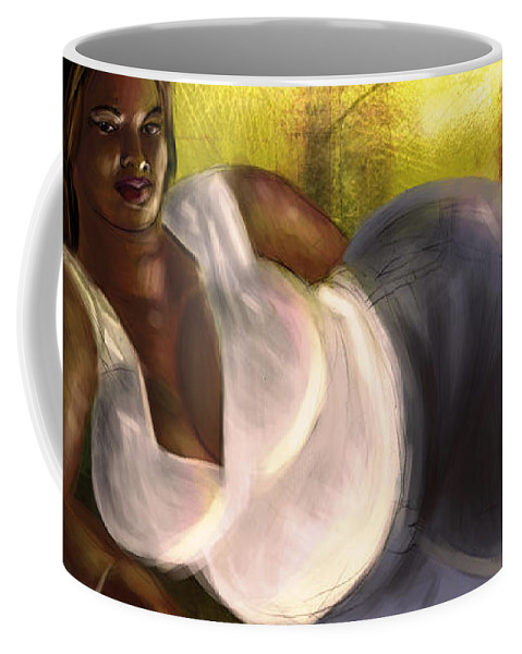 Fat Coffee Mug featuring the digital art Woman Lying Down In Jeans by David James