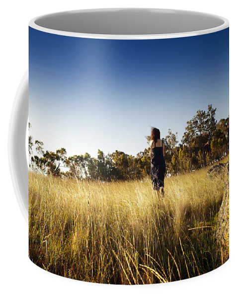 Australia Coffee Mug featuring the photograph Woman Running Through Field by Tim Hester
