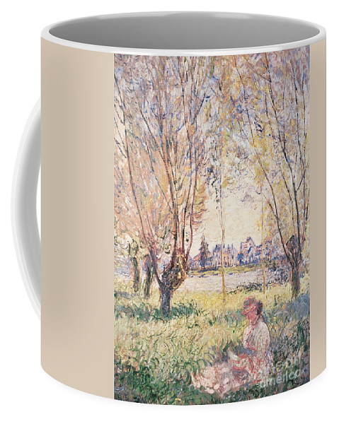 Claude Monet Coffee Mug featuring the painting Woman Seated Under The Willows by Claude Monet