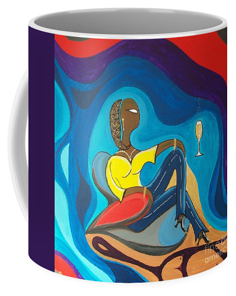 John Lyes Coffee Mug featuring the painting Woman Sitting In Chair Surrounded By Female Spirits by John Lyes