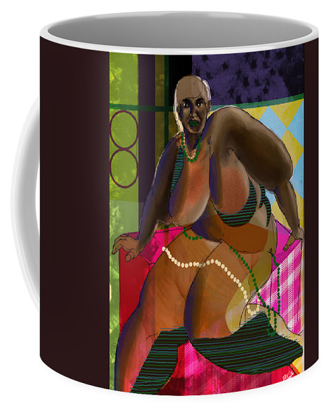Fat Coffee Mug featuring the digital art Woman Sitting On Cube by David James