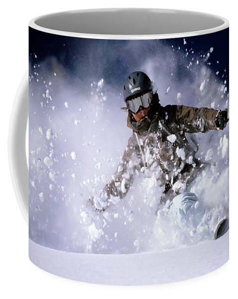 Action Coffee Mug featuring the photograph Woman Skiing Powder In The Wasatch by Scott Markewitz