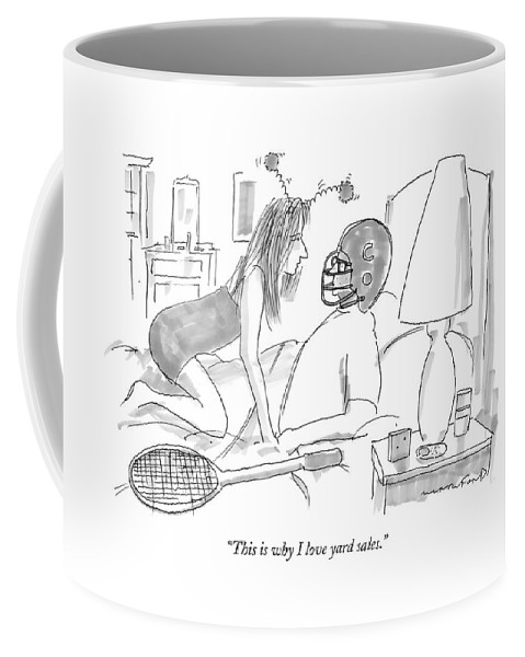 Sex Interiors Sports Games Relationships  Coffee Mug featuring the drawing Woman Wearing Silly Headband To Man In Bed by Michael Crawford