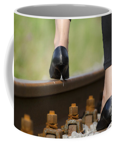 Woman Coffee Mug featuring the photograph Woman With High Heels Shoes by Mats Silvan