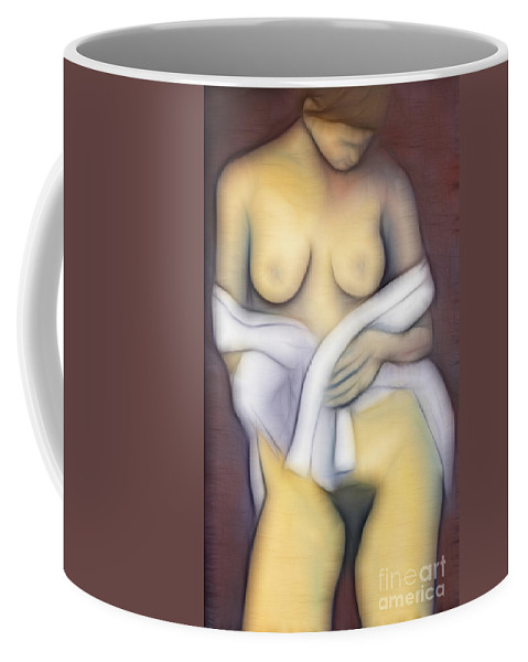 Art Coffee Mug featuring the mixed media Woman With Veil by Michal Boubin