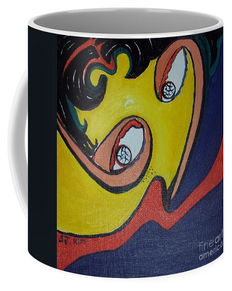 Abstract Figurative Paintings Coffee Mug featuring the painting Woman20 by Seon-Jeong Kim
