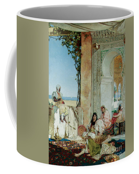Orientalist; Oriental; Exotic; Moorish; Morocco; Moroccan; North Africa; North African; Women; Harem; Concubine; Concubines; Odalisque; Odalisques; Interior; Terrace Coffee Mug featuring the painting Women Of A Harem In Morocco by Jean Joseph Benjamin Constant