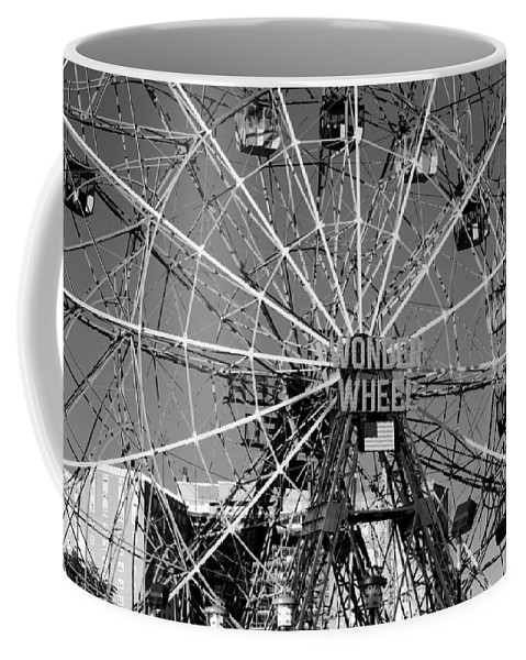 Brooklyn Coffee Mug featuring the photograph WONDER WHEEL of CONEY ISLAND in BLACK AND WHITE by Rob Hans