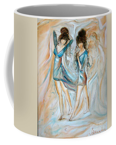 Contemporary Art Coffee Mug featuring the painting Wondering by Silvana Abel