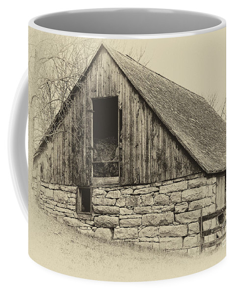 Barn Coffee Mug featuring the photograph Wood And Stone by Pam Holdsworth