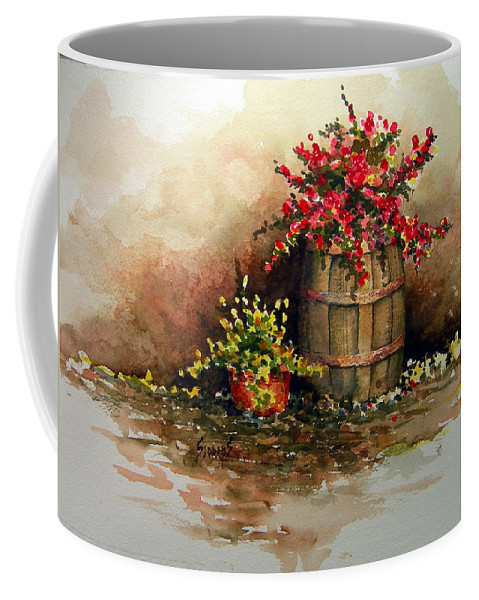 Barrel Coffee Mug featuring the painting Wooden Barrel with Flowers by Sam Sidders