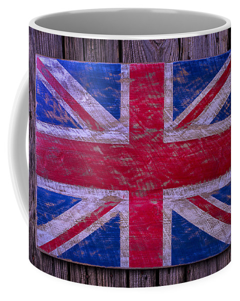 Wooden Coffee Mug featuring the photograph Wooden British Flag by Garry Gay