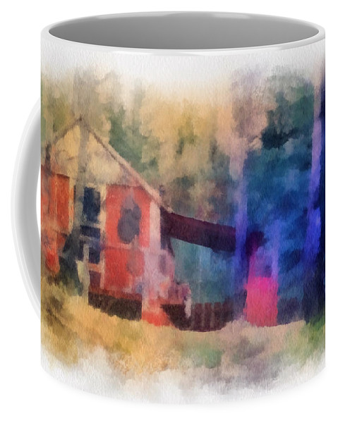 Wooden Coffee Mug featuring the photograph Wooden Fishing Hunting Cabin Photo Art by Thomas Woolworth