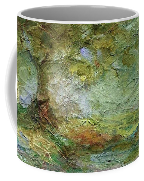 Textured Landscape Coffee Mug featuring the painting Woodland Impressions by Mary Wolf