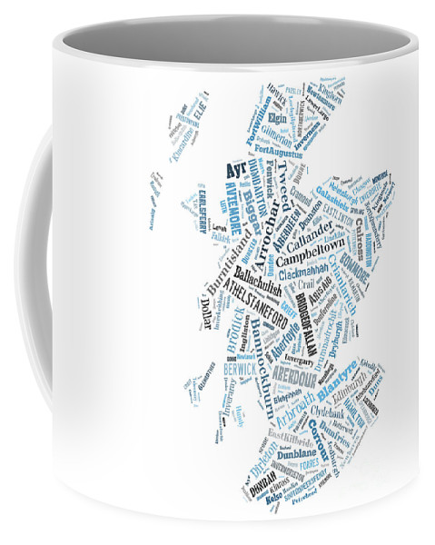 Scotland Coffee Mug featuring the digital art Wordcloud Of Scotland by Antony McAulay