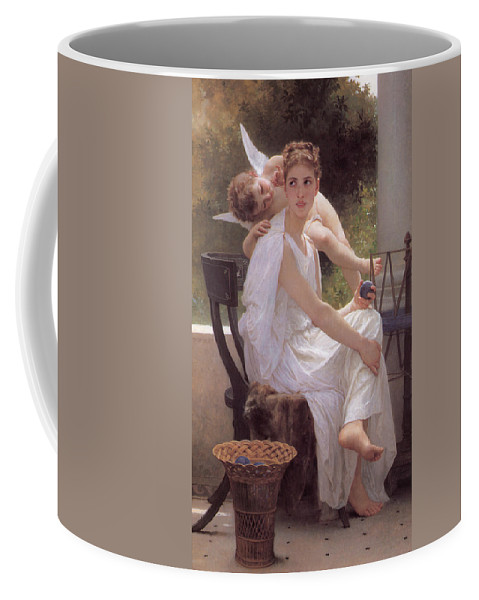 William-adolphe Bouguereau Coffee Mug featuring the painting Work Interrupted by William-Adolphe Bouguereau
