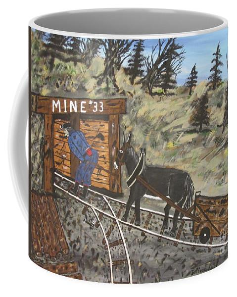 Coal Man Art Coffee Mug featuring the painting The Coal Mine by Jeffrey Koss