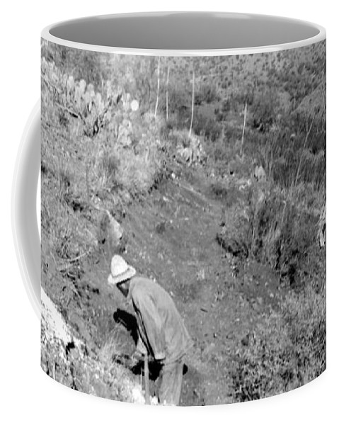 Photograph By My Grand Father Taken In Arizona In The 1940's. This Is A Digital Photgraph Of The Negative. Coffee Mug featuring the photograph Working The Mine by Larry Ward