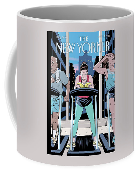Reading Coffee Mug featuring the painting Workout Reading by R Kikuo Johnson