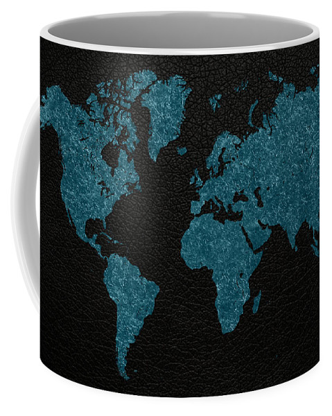 World Coffee Mug featuring the mixed media World Map Blue Vintage Fabric On Dark Leather by Design Turnpike