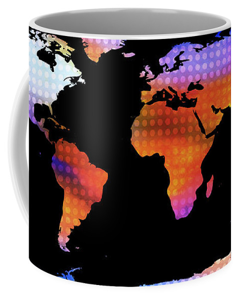 Map Of The World Coffee Mug featuring the painting World Map Colourful Dots by Pixel Chimp