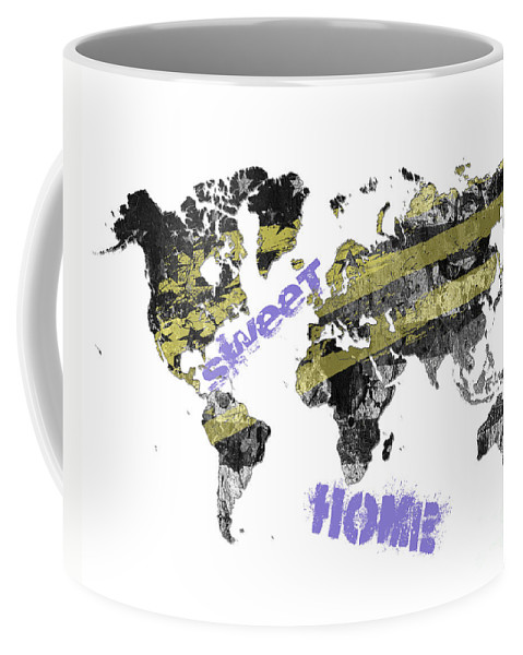 World Coffee Mug featuring the digital art World Map Cool by Voros Edit