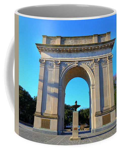Victory Arch Coffee Mug featuring the photograph World War I Victory Arch Newport News by Greg Hager