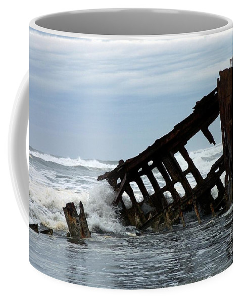 Wreck Of The Peter Iredale Coffee Mug featuring the photograph Wreck Of The Peter Iredale by Chalet Roome-Rigdon