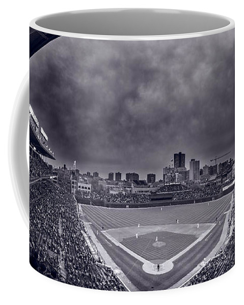 Cubs Coffee Mug featuring the photograph Wrigley Field Night Game Chicago Bw by Steve Gadomski