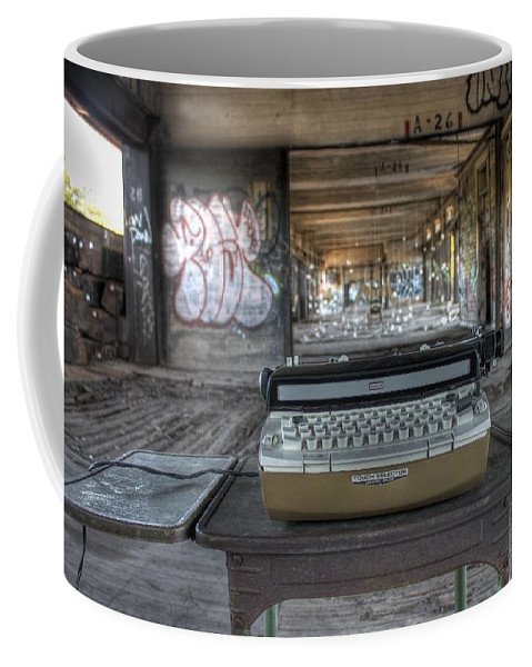 Typewriter Coffee Mug featuring the photograph Writers Block by Jane Linders