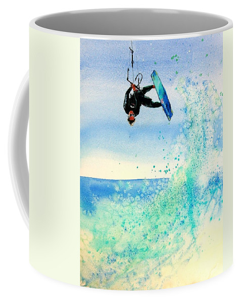 Kiteboarding Coffee Mug featuring the painting Xtreme Big Air by Lynee Sapere
