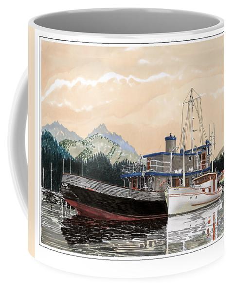 Yacht Portraits Coffee Mug featuring the painting Alaskan Sunrise by Jack Pumphrey