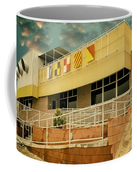 Palm Springs Coffee Mug featuring the photograph Yacht Rock Vintage Effect North Shore Yacht Club Salton Sea by William Dey