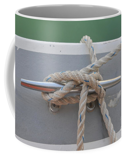 Yacht Coffee Mug featuring the photograph Yacht Secured To A Jetty by Shay Levy