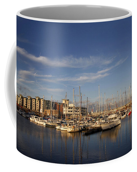 Berthed Coffee Mug featuring the photograph Yachts In A Marina At Sunset by Steve Ball