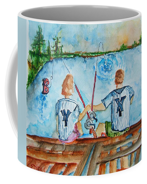 Yankee Coffee Mug featuring the painting Yankee Fans Day Off by Elaine Duras