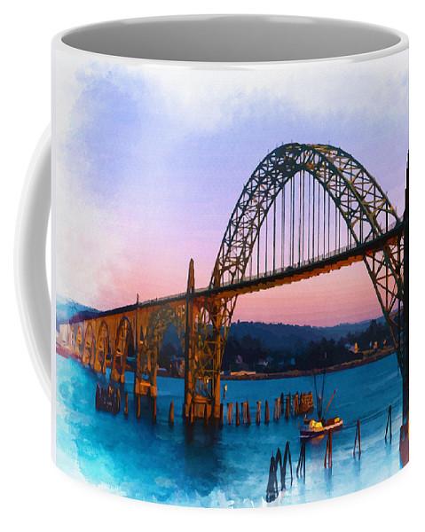 Water Coffee Mug featuring the digital art Yaquina Bay Bridge by Don Kuing